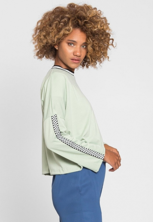 For You Checkboard Trim Knit Top in Mint alternate img #5