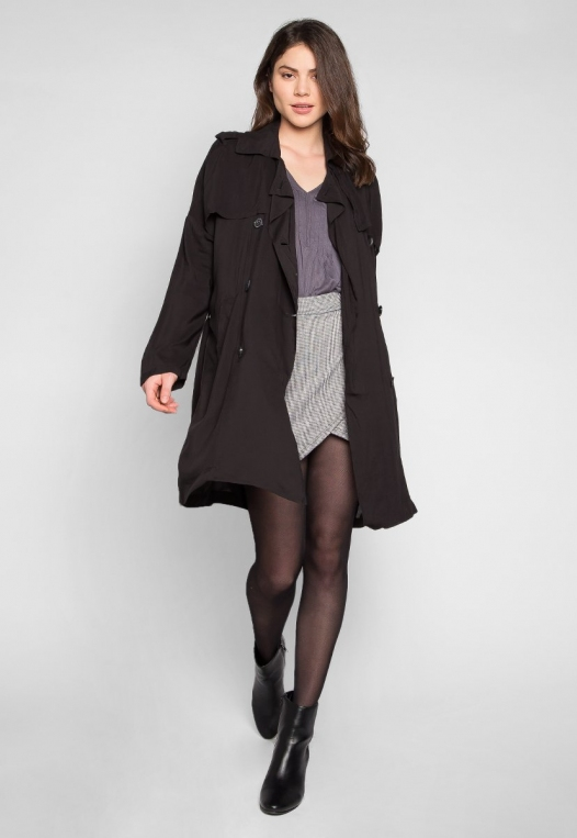 Look My Way Belted Trench Coat In Black alternate img #4