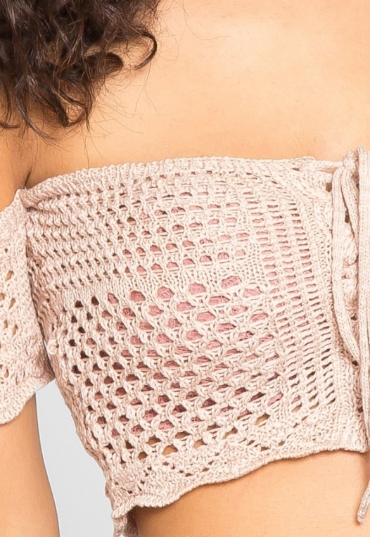Puerto Crochet Off Shoulder Crop Top in Blush alternate img #7
