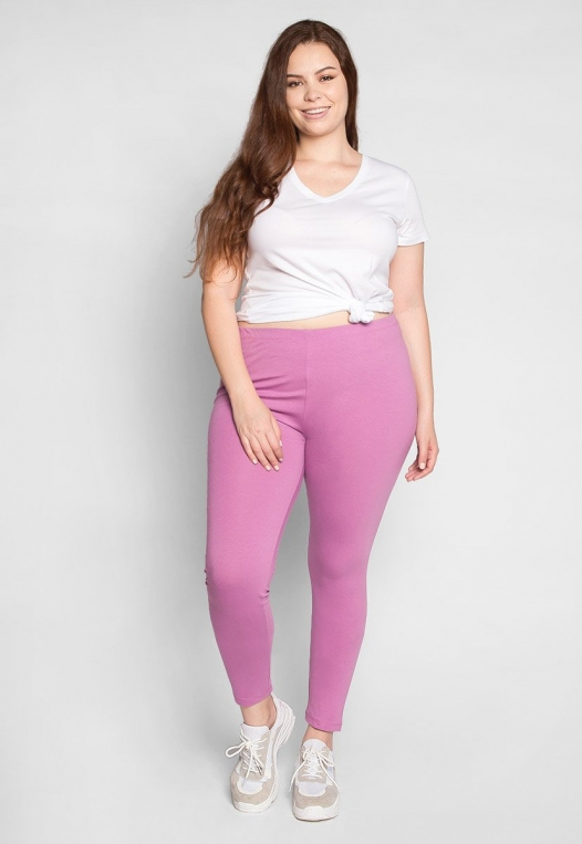 Plus Size Cotton Candy Leggings in Lavender alternate img #4