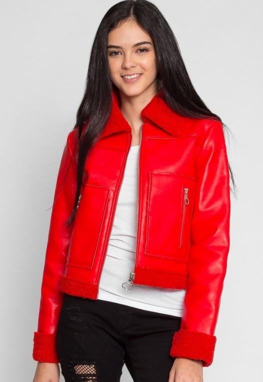 All Stars Luxe Bomber Jacket in Red alternate img #2