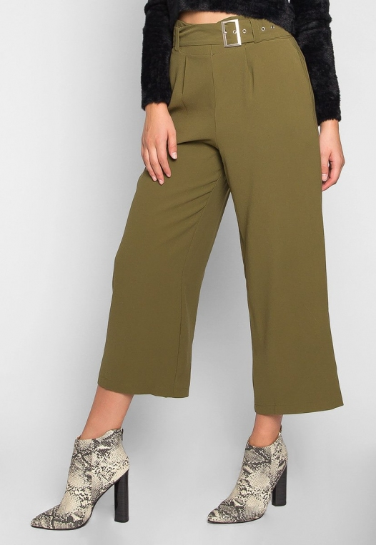 Barcelona Crop Wide Leg Belted Pants in Olive Green alternate img #3