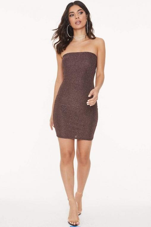 Strapless Glitter Bodycon Dress alternate img #2