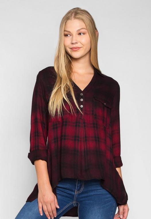 Lucky Girl Ombre Plaid Henley Shirt alternate img #1