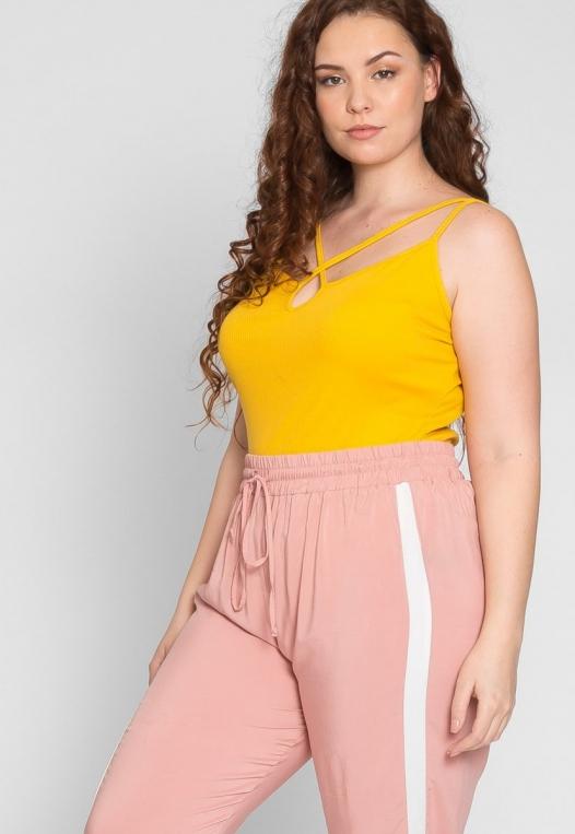 Plus Size Side Stripe Knit Pants in Blush alternate img #5