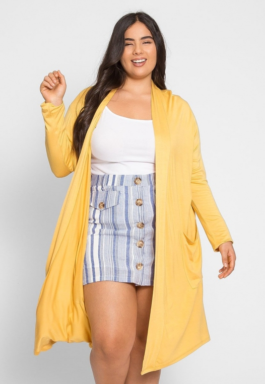 Plus Size Catalena Longline Cardigan in Yellow alternate img #3