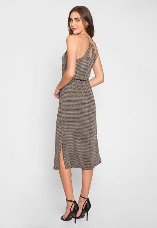 Gina Metallic Striped Maxi Dress alternate img #2