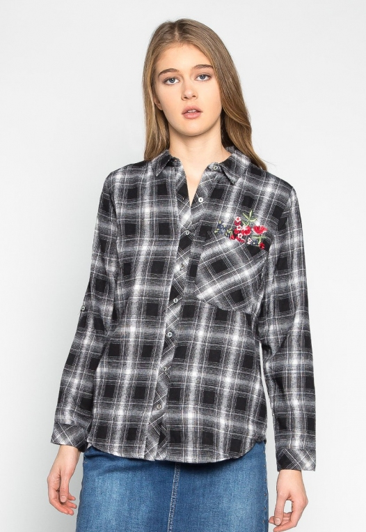 I Don't Care Plaid Embroidered Shirt alternate img #1