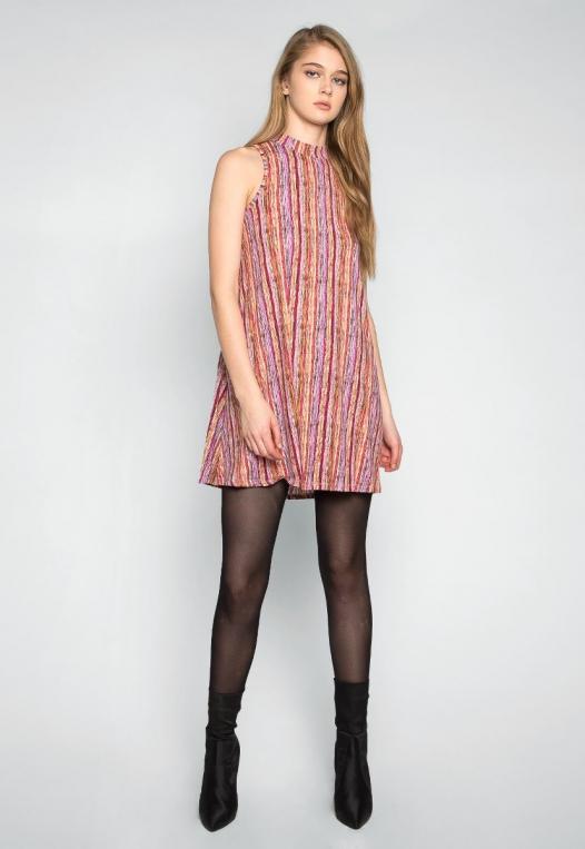 Colorful Party Striped Mock Neck Dress alternate img #4