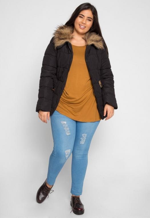 Plus Size Luxurious Faux Fur Trim Jacket in Black alternate img #4