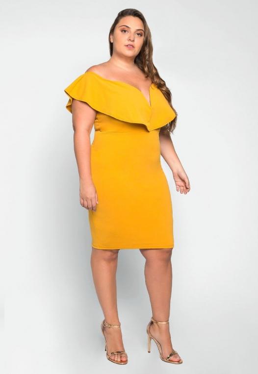 Plus Size Heartbeat Foldover Dress in Mustard alternate img #3
