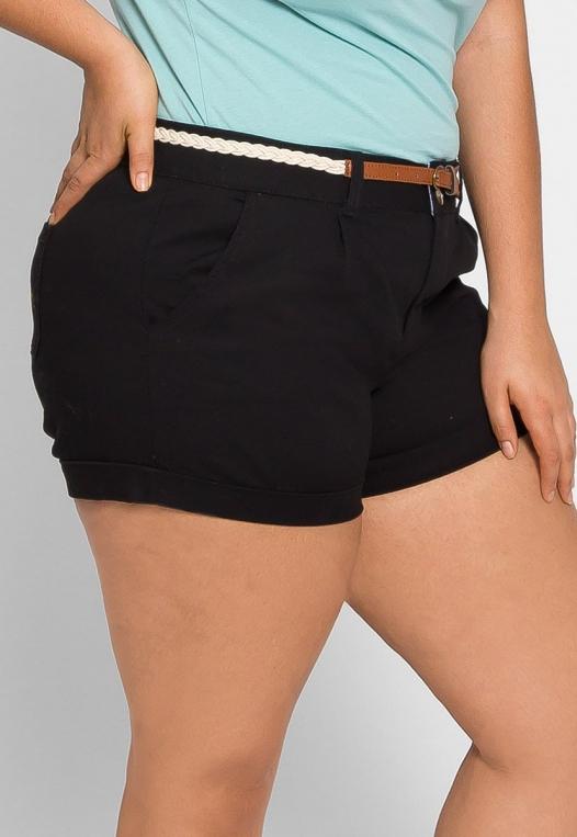 Plus Size Linen Braided Belt Shorts alternate img #4