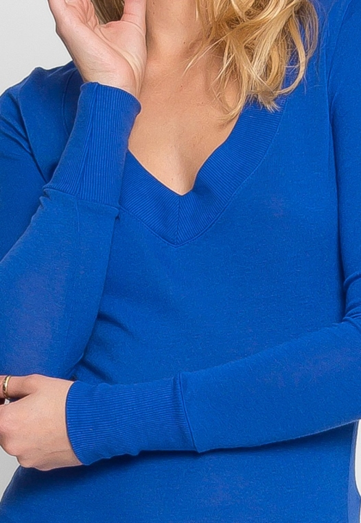 Perfect V Neck Sweater in Blue alternate img #6