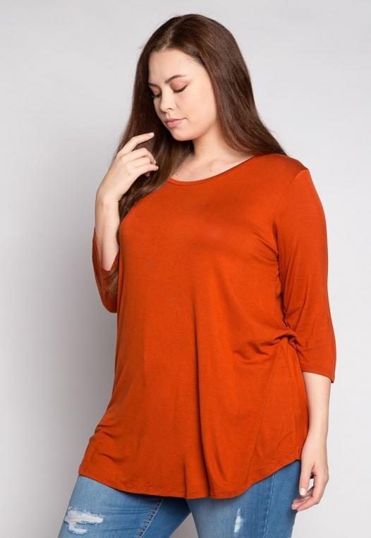 Plus Size Dolphin Hem Top in Orange alternate img #3