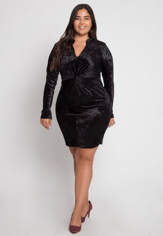 Plus Size Wild Velvet Party Dress in Black alternate img #4