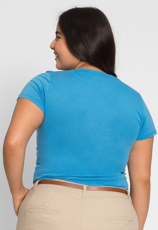 Plus Size Ivy V-Neck Tee in Blue alternate img #2