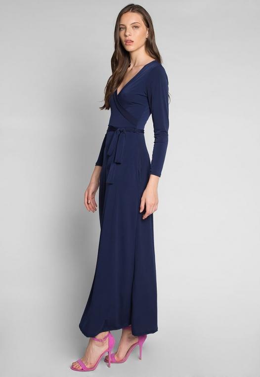 Katherine Wrap Maxi Dress in Navy alternate img #3
