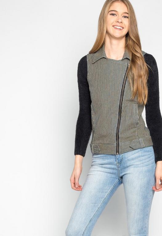 Strangers Asymmetrical Zip Striped Vest alternate img #5