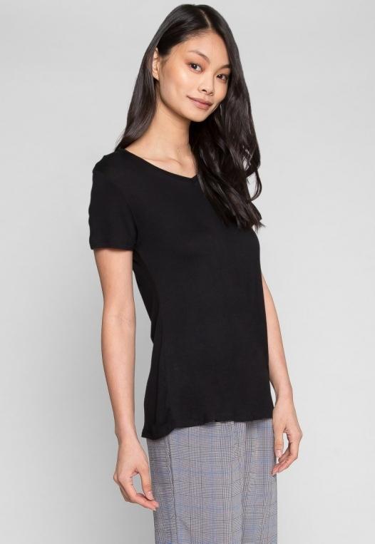 Easy Days V-Neck Plain T-Shirt in Black alternate img #2