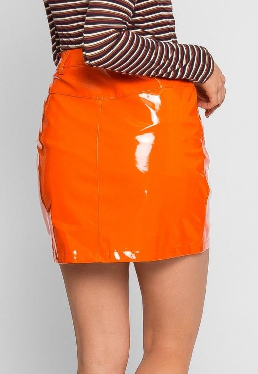 Leroy Neon Mini Skirt in Orange alternate img #4