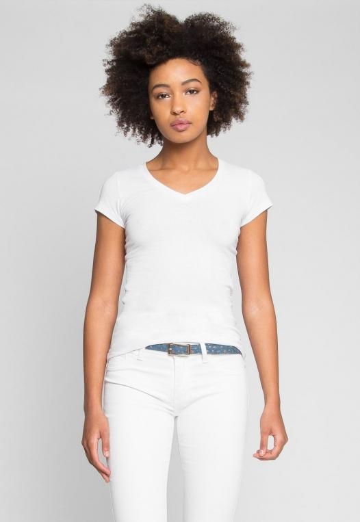 Venus V-Neck Tee in White alternate img #2