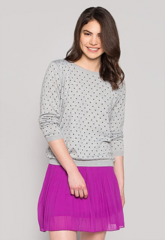 Soft Star Printed Sweater in Gray alternate img #1