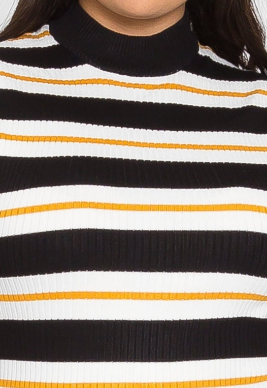 Plus Size Charger Knit Stripe Top in Yellow alternate img #6
