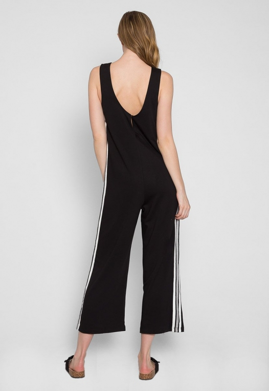 Sporty Side Stripe Jumpsuit in Black alternate img #2