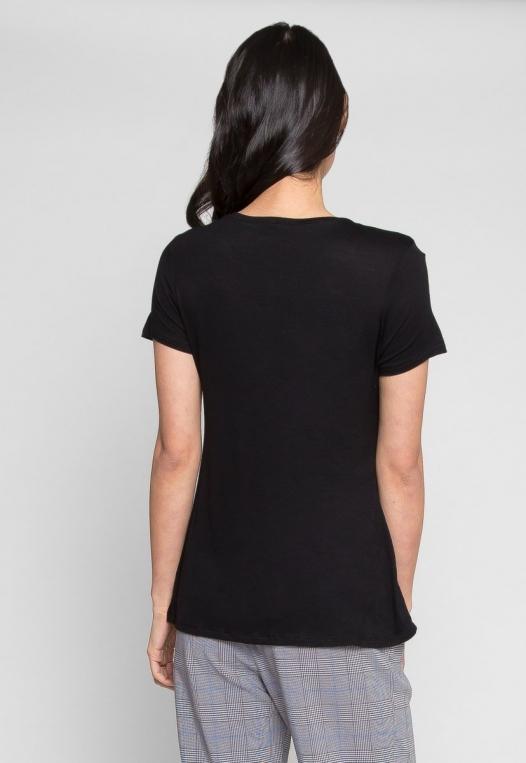 Easy Days V-Neck Plain T-Shirt in Black alternate img #3