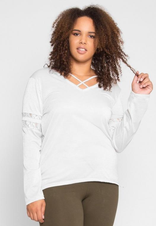 Plus Size University Raglan Sleeve Top in Ivory alternate img #2
