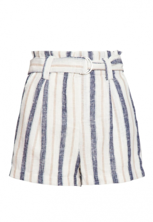 Beach Day Stripe Linen Shorts in Blue alternate img #7