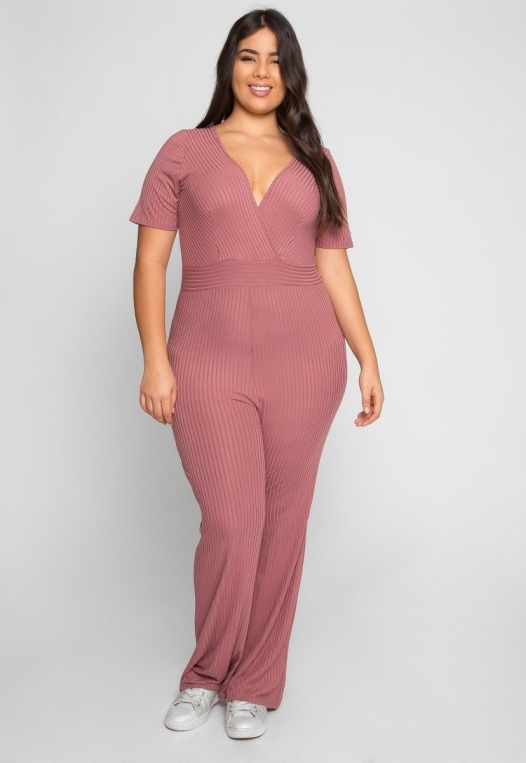 Plus Size Knit Jumpsuit in Pink alternate img #1