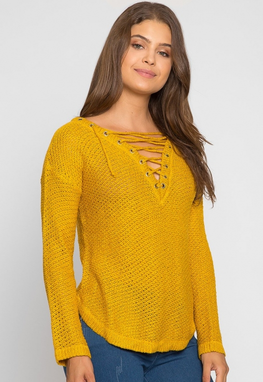 April Lace Up Sweater in Mustard alternate img #2