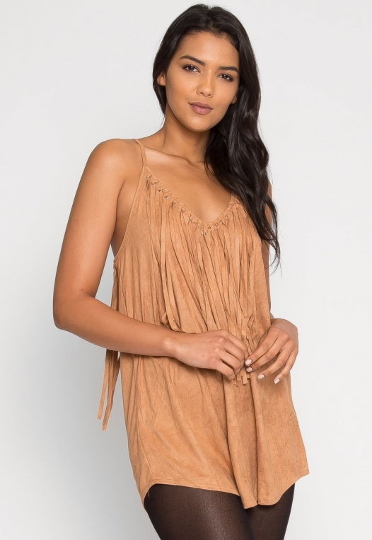 Symphony Faux Suede Dress in Taupe alternate img #2