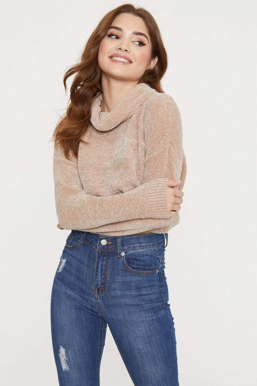 Chenille Roll Neck Cropped Sweater alternate img #1