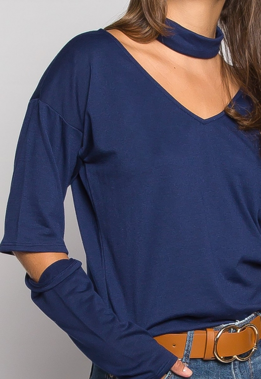 Downtown Choker Knit Top in Navy alternate img #6