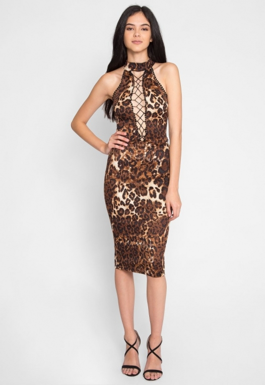 Belhurst Leopard Midi Dress alternate img #4