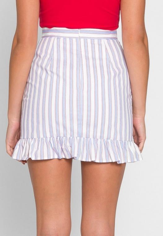 Powder Vertical Stripe Skirt alternate img #3