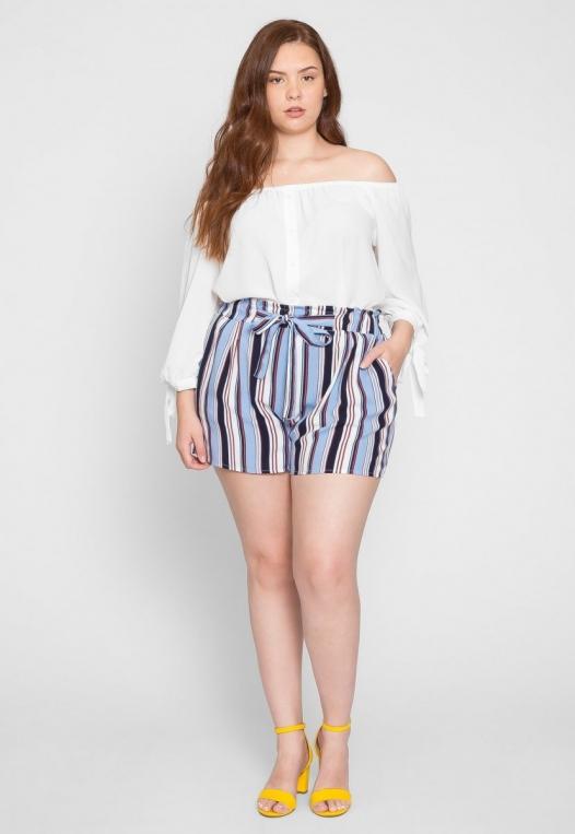 Plus Size Venice Beach Stripe Shorts in Light Blue alternate img #5