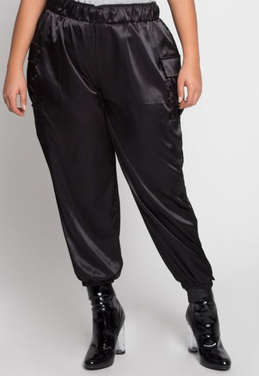 Plus Size Margot Satin Cargo Pants alternate img #1