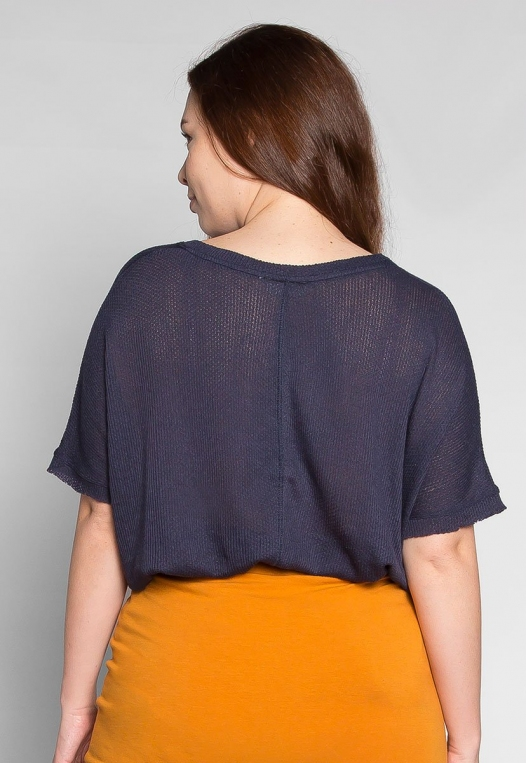 Plus Size Just Me Thermal Top in Navy alternate img #2