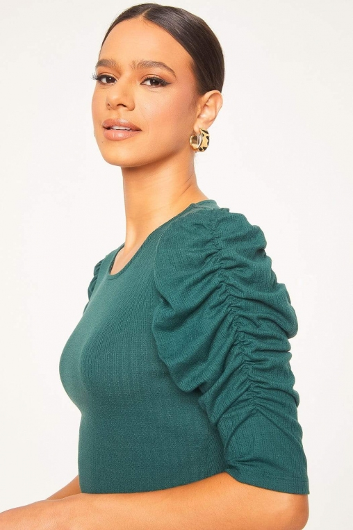 Ruched Cascade Sleeve Knit Blouse alternate img #2