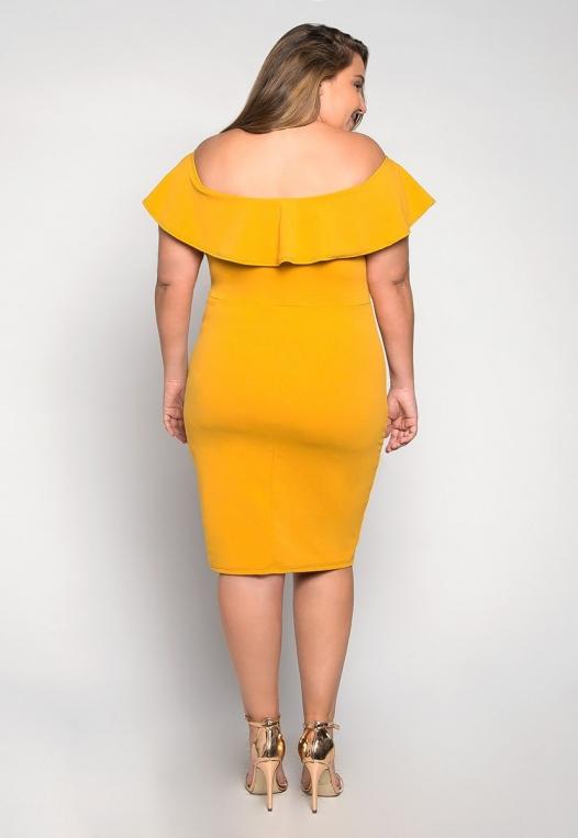 Plus Size Heartbeat Foldover Dress in Mustard alternate img #2