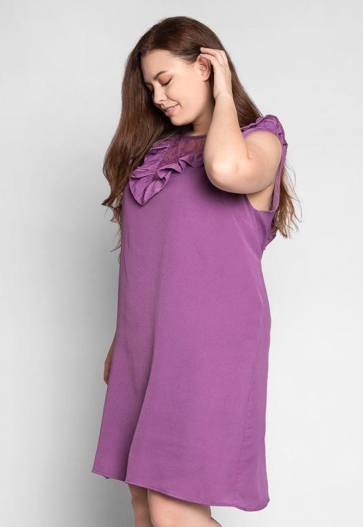 Plus Size Lavender Fields Ruffle Mini Dress in Purple alternate img #3
