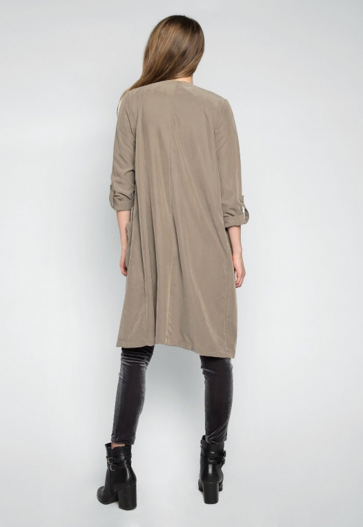 Almost Famous Roll Tab Lapel Coat in Sage alternate img #2