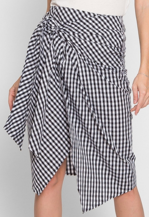 Gorgeous Gingham Plaid Tie Front Skirt alternate img #3