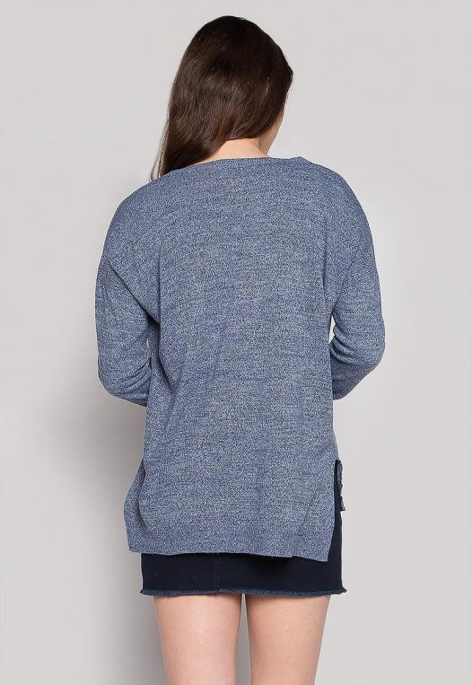 Marily Step Hem Oversized Sweater in Blue alternate img #2