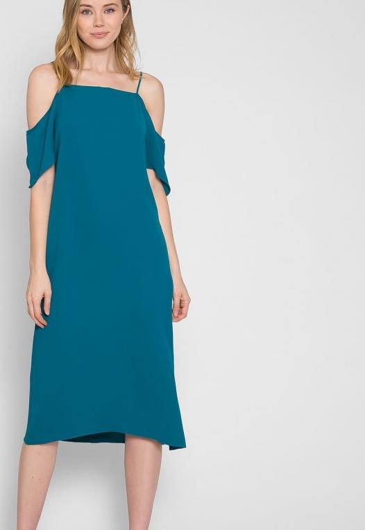 Reveal Cold Shoulder Maxi Dress in Teal alternate img #5