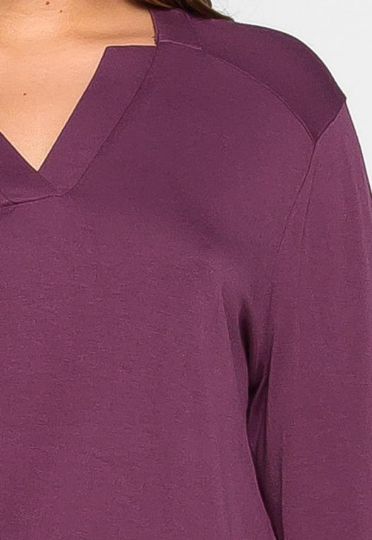 Plus Size Madeline Roll Tab Sleeve Blouse in Purple alternate img #6