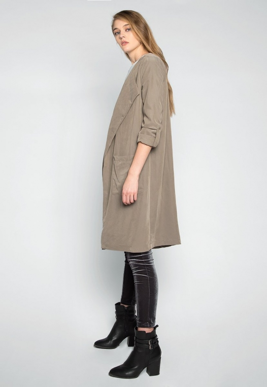 Almost Famous Roll Tab Lapel Coat in Sage alternate img #3